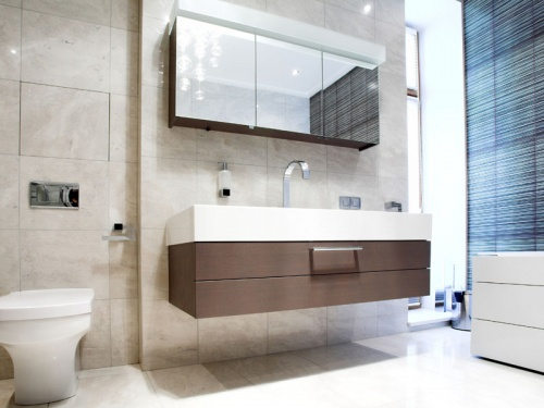 Bathroom with Mirror and pan